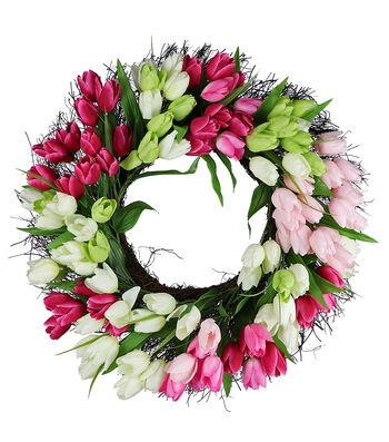 Fresh Picked Spring 22'' Tulip & Grapevine Wreath-White & Pink