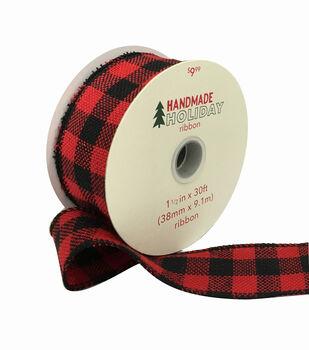 Handmade Holiday Ribbon 1.5''x30'-Large Red & Black Buffalo Checks