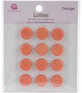 Queen & Co. 12 pk Lollies Self-Adhesive Embellishments-Orange