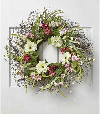 Fresh Picked Spring 24'' Zinnia & Wildflower Wreath-Cream