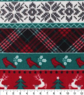 Anti-Pill Plush Fleece Fabric-Red Green Plaid Fair Aisle Holiday