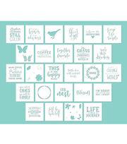 """Hampton Art 12""""x12"""" Card Stock Stencils-Phrases, , hi-res"""