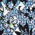 Fast Fashion Bubble Crepe Knit Fabric-Lagoon Ethnic Floral