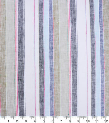 100% Linen Fabric-White Multi YD Awning Stripe