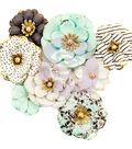 Prima Marketing Flirty Fleur Mulberry Paper Flowers 8/Pkg-Goldkiss