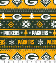 Green Bay Packers Christmas Flannel Fabric-Winter, , hi-res