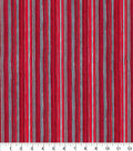 Christmas Cotton Fabric-Red Stripes with Glitter