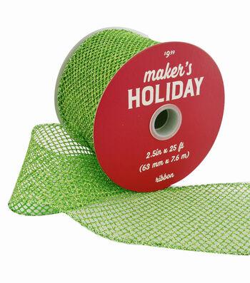 Maker's Holiday Christmas Glitter Mesh Ribbon 2.5''x25'-Lime Green