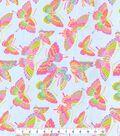 Snuggle Flannel Fabric 42\u0027\u0027-Colorful Butterflies on Blue