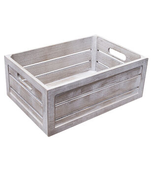 Fab Lab Medium White Wash Crate with Handles
