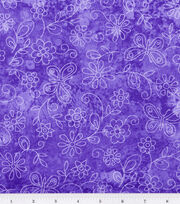 Keepsake Calico Fabric -Purple Sundrenched Butterfly & Flower, , hi-res