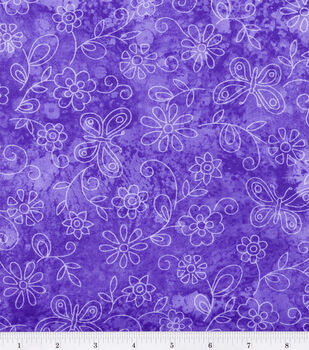 Keepsake Calico Fabric -Purple Sundrenched Butterfly & Flower