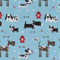 Novelty Cotton Fabric-Good Dogs On Light Blue Dot