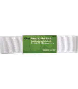 """Dritz Ribbed Non-Roll Elastic White 1.5"""" x 2.5 Yds"""