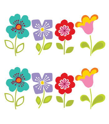 Wall Pops Petals Flowers Wall Decal Kit, 16 Piece Set