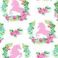Nursery Cotton Fabric 43\u0027\u0027-Unicorn & Floral Spray