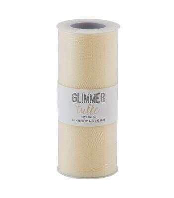 """Glimmer Tulle Spool 6""""x25yd-Eggnog"""