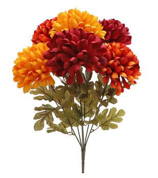 Blooming Autumn 22'' Ball Mum Bush-Dark Yellow, Orange & Burgundy