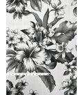 Tropic Time Linen Fabric 57\u0027\u0027-Ivory & Black Hibiscus