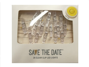 Save the Date Lighted String with Clear Clips