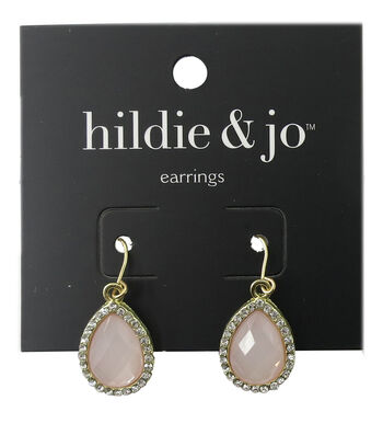 hildie & jo Teardrop Gold Earrings-Pink Stone & Clear Crystals