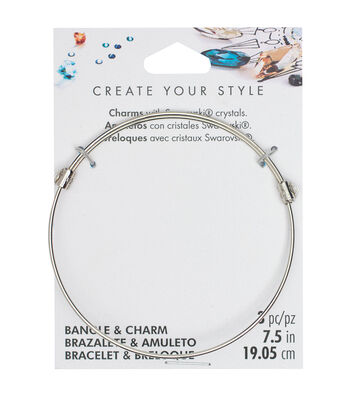 "Swarovski Create Your Style 7.5"" Bangle with Charms-Silver"