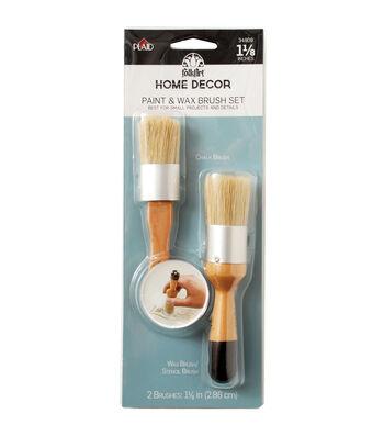 FolkArt Home Decor 1.13'' Chalk & Wax Brush Set