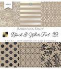 DCWV 40 Pack 6\u0027\u0027x6\u0027\u0027 Kraft Cardstock Stack-Black & White Foil