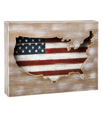 Americana Patriotic USA Flag Wood Shadow Box-Stars & Stripes