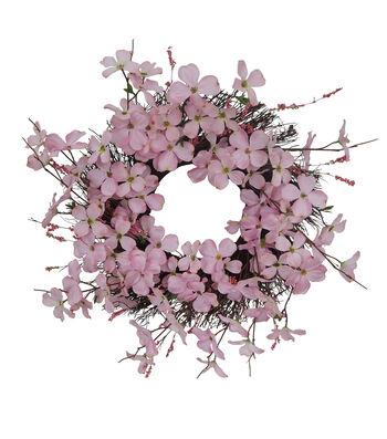 Fresh Picked Spring 22.5'' Dogwood Blossom Wreath-Pink