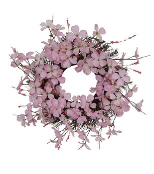 Fresh Picked Spring 22.5'' Dogwood Blossom Wreath-Pink