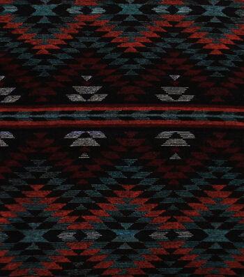 Sportswear Jacquard Fabric-Orange & Black Aztec Triangle