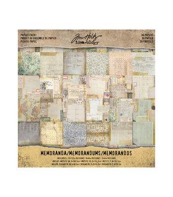 Tim Holtz Idea-ology Pack of 36 Memoranda Paper Stash