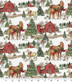 christmas cotton fabric scenic horses - Christmas Horse Yard Decorations