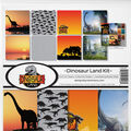 Reminisce Collection Kit 12\u0022X12\u0022-Dinosaur Land, 8 Papers & Stickers