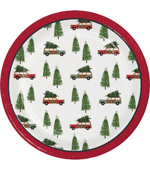 Handmade Holiday Christmas 8 pk 7'' Paper Lunch Plates-Cars with Tree