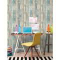 York Wallcoverings Wallpaper-Blue Distressed Wood