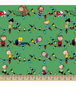 Peanuts Cotton Fabric -Snoopy & Friends Christmas Lights