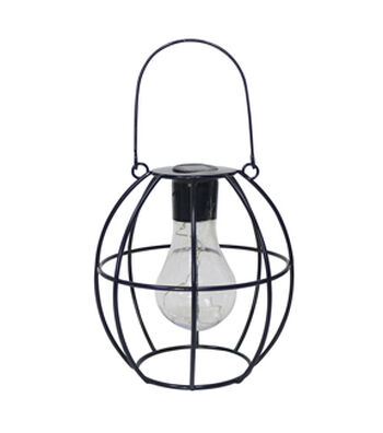 In the Garden Round Shaped Hanging Solar Lantern-Black