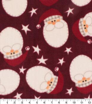 Christmas Anti-Pill Plush Fleece Fabric-Holiday Santa Faces