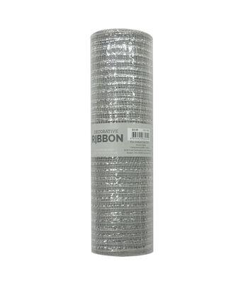 Decorative Ribbon Metallic Deco Mesh 10''x10 yds-Silver