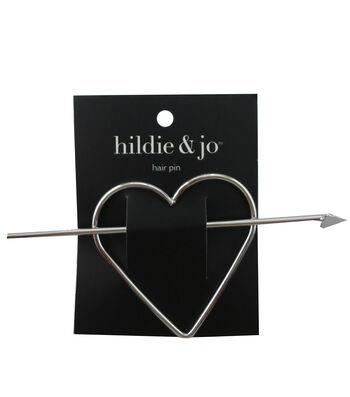 hildie & jo Heart Silver Hair Pin Set