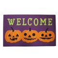 Maker\u0027s Halloween Rubber Door Mat-Welcome & Triple Jack-o\u0027-lantern