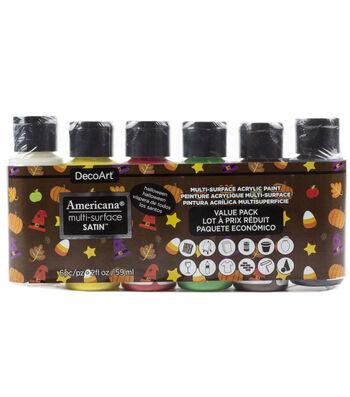 DecoArt Americana Multi-Surface  Paint Value Pack 6/Pkg-Fall