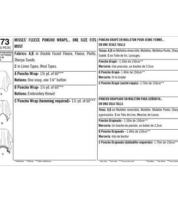 Simplicity Pattern 8173 Misses' Fleece Poncho Wraps