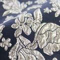 Jaquard Fabric-Puffed Floral Metallic Silver/Navy