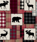 Snuggle Flannel Fabric -Bear Lake & Red Patch