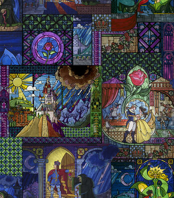 "Disney Beauty & The Beast Poly Spandex Fabric 60""-Stained Glass"