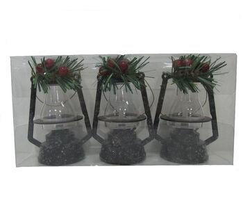 Handmade Holiday Christmas Alpine Lodge 3 pk Lantern Ornaments