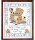 Bear Birth Sampler Stamped Cross Stitch Kit-11\u0022x14\u0022